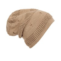 Casual Knit Ripped Hollow Out Plain Hat