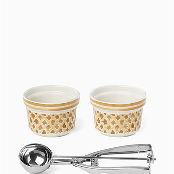 two scoops set of two bowls with ice cream scoop