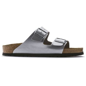 Birkenstock Arizona Soft Footbed Birko Flor Silver 550153 Sandals - Ready Stock