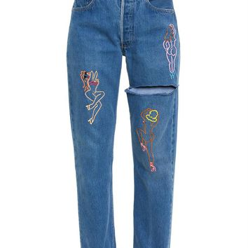 Embroidered Jeans - GOOD FOR NOTHING EMB