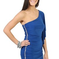 One Shoulder Club Dress with Flutter Sleeves and Rhinestone Accents