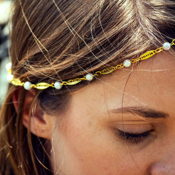 Boho Head Chain Headpiece Headband Hair Piece Bohemian Hipster Boho Hippie Gold Coin Chain Belly Dancing Bridal Jewelry EmmaHP