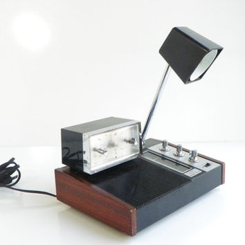 Mid Century Desk Lamp and Clock and Radio Combo