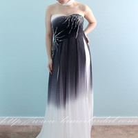Reay to ship -Black And White Long  Gradient Silk Chiffon Prom dress ,Graduation Bridesmaid or Mother of bride Formal Evening Dress