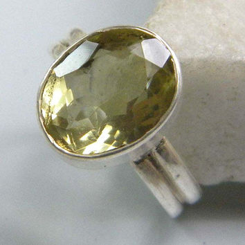 stone ring , Lemon Topaz gem stone ring, silver ring, handmade sterling silver ring, Lemon Topaz ring, ring-0314140038