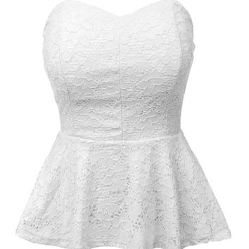 LE3NO Womens Stretchy Strapless Lace Peplum Cropped Top