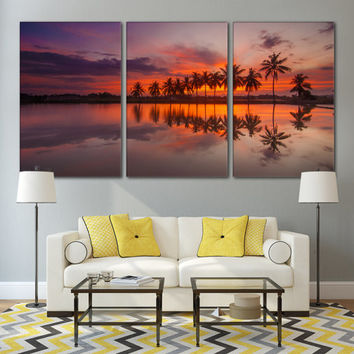 Tropical Decor Beach Wall Art Ocean Wall Art Nature Print / Coastal Sunrise Print / Tropical Ocean Canvas Art Decor / Beach Canvas Art