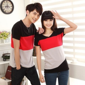 2015 Couple T Shirts Korean Cotton Summer Mens O-neck Ladies V-neck Plus Size Short Sleeves T Shirt = 1930018820