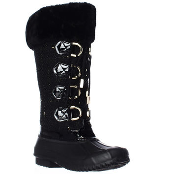 INC Lorinah Cozy Winter Boots - Black/Gold