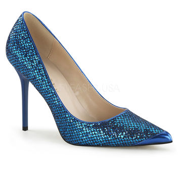 Pleaser USA Blue Glittery Lame Fabric Classique Slip-On Pumps