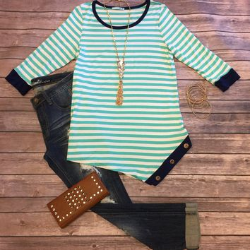 Button Side Stripe Top: Mint/Navy