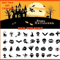 36 x Halloween Nail Art Water Transfer Decal Wraps Bats Pumpkin Ghost Y730