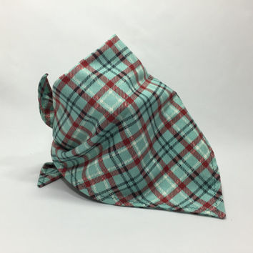 Green Plaid Dog Bandana