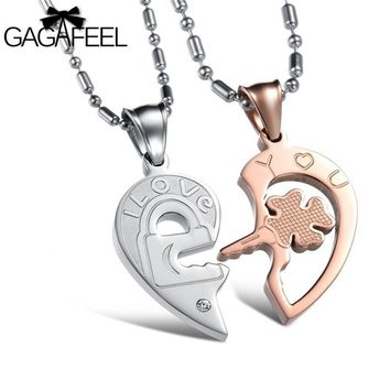 Stainless Steel Fine Jewelry Men Couples Crystal Natural Stone Clover Key Pendant Necklace Lovers Best Gifts Vintage N844