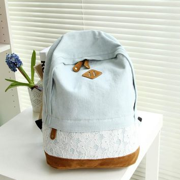 Fashion Lace Denim Women Canvas Backpack Schoolbag For Teenagers Ladies Girl Schoolbag Bagpack Quality Female Bag Mochila