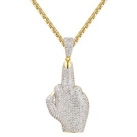 Custom Hip Hop Middle Finger Silver Iced Out Pendant