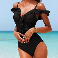 Off Shoulder Ruffles Swimsuit