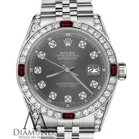 Rolex 36mm Datejust Dark Grey Color Dial with Ruby & Diamond Accent Unisex Watch