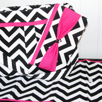 Chevron SET Diaper bag with Bright Pink Accents
