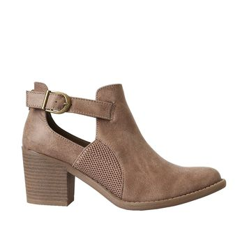 Taupe Distressed Buckle Booties