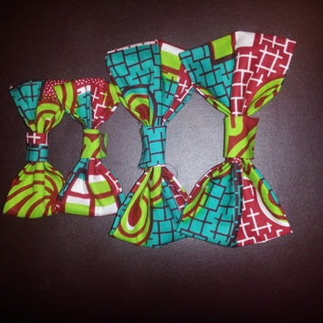 Red and Green Ankara Bow Tie