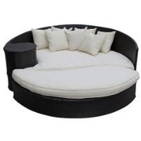 My Associates Store - LexMod Taiji Outdoor Rattan Daybed with Ottoman, Espresso with White Cushions