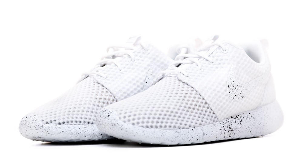 cheap for discount 964f2 7f323 ... sale nike roshe one customized by glitter kicks white black paint  speckle 766e9 6f924