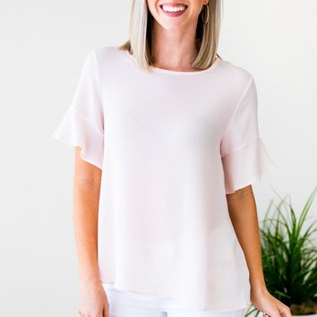Watching the Clock Flutter Sleeve Top in Blush