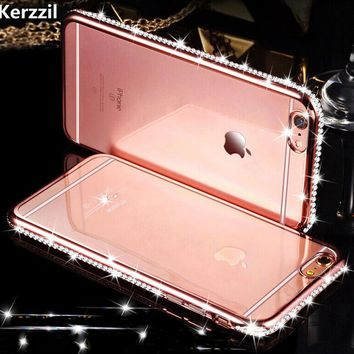 Kerzzil For iPhone 7 6 6s 8 Plus Diamond Case For iPhone X 6s 7 8 Slim Clear Soft TPU Crystal Rhinestone Silicone cover back