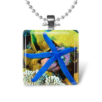 Cobalt blue starfish glass tile glass pendant, choice of necklace or keychain, summer holidays, beach seaside