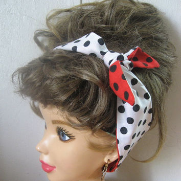 Bandana Headband, Red Hair Scarf, Polka Dots, Turban Headband, Spring Fashion, Knotted Hairband, Pinup, Retro Style, 50s Rockabilly #388