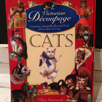 Victorian Decoupage Cats - Illustrated & Instructional Book with 10 Sheets of Victorian 'Scraps'