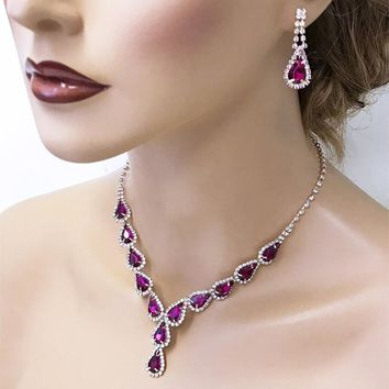 Fuchsia Teardrop Crystal Bridal Jewelry Set, Rose Gold Jewelry set