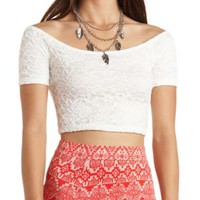 Off-the-Shoulder Lace Crop Top by Charlotte Russe - Off White