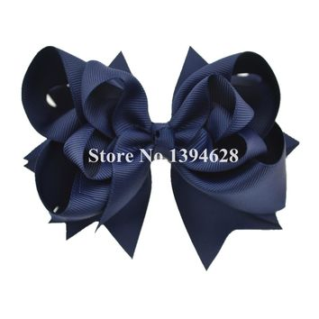 $1/1PCS 5 inches 3 Layers Solid Navy Bows With 6cm Clips Boutique Ribbon Bows For Girls Hair Accessories