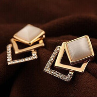 18K Plated 2014 New Style Korean Temperament OL Fashion Sparking Rhinestone  Geometry Square Opal Stud Earrings