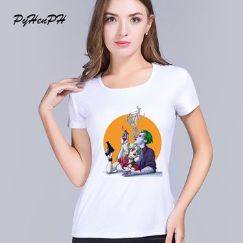 PyHen 2016 Fashion Harley Quinn and The Joker Printed Women T shirt Short Sleeve Casual t-shirt Hipster SUICIDE SQUAD Tops
