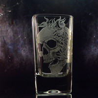 Skull shot glass with flames. Hand engraved shot glass. Clear , custom barware bar , custom glassware gifts for him masculine