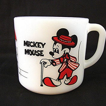 Vintage 1960s Disney Mickey Mouse Cup Minnie Mouse Milk Glass Anchor Hocking