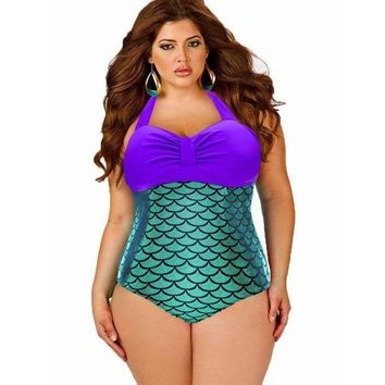 PEAP78W Summer Style Women  Fish Scale Swimwear One Pieces Swimsuits Blue Polka Push Up High Waisted Bathing Suits Plus Size Swimwear