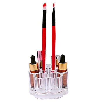 1PC Acrylic Brush Pot Shape Cosmetic Storage Organizer Makeup Display Rack Box (Size: 9.1cm by 8.4cm, Color: Transparent) = 1705709060