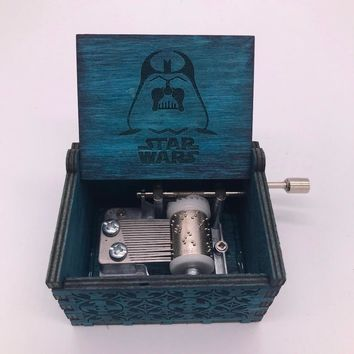 Fancy Movie Star Wars Game of Thrones Blue Cosplay Props Hand Cranked Music Box Engraved Wooden Crafts Custom