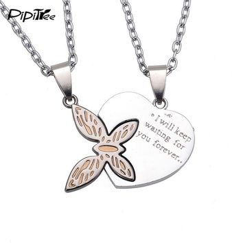 2018 New Fashion Butterfly Heart Pendant Necklaces for Lovers Best Friends Letter Couple Necklace Set Men Women Jewelry