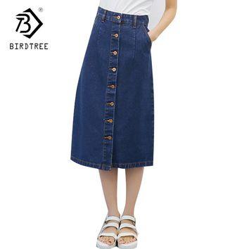 2018 Spring And Autumn Denim Skirt Female Korean Style A-line Mid-Calf Length Blue Woman Skirt Office Lady Hot Sales D81419C
