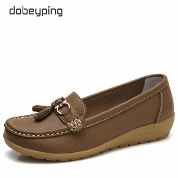 dobeyping New Arrival Shoes Woman Genuine Leather Women Flats Slip On Women's Loafers Female Moccasins Shoe Plus Size 35-44