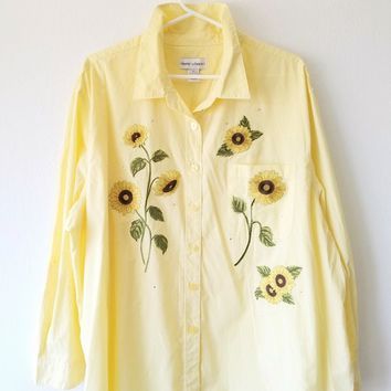 Vintage Checkered Sunflower Blouse Size 2x Yellow Button Down Rhinestone Applique Hippie Hipster Country Slouchy Oversized Festival Large XL