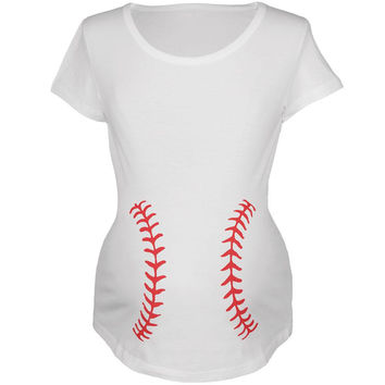 Baseball Belly White Maternity Soft T-Shirt