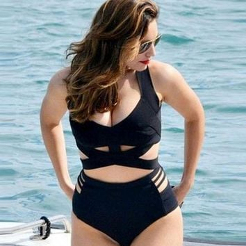 XL Plus Size Swimwear Women Black Cross Wrap Bikini Set Female High Waist Swimsuit Large Size Bathing Suit Swim Wear