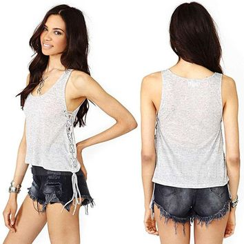 2017 Summer Casual Women Sexy See Through Vest Basic Solid Shirts Tank Tops Sizes 10 12 14