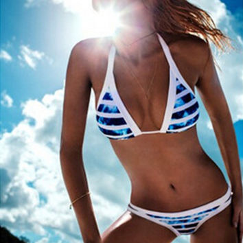 2016 Summer Sexy Halter Swimwear Women Bandage Bikini Set